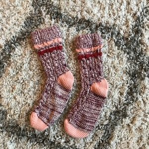 Accessories - Thick Knit Burgundy and Peach Socks